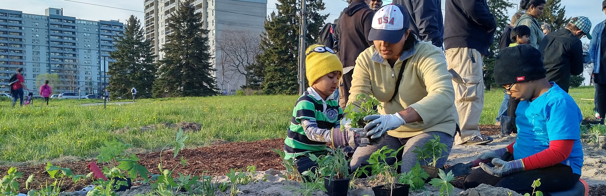 mother and children take part in Meadoway planting event