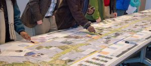 community members examine map at Meadoway public information centre