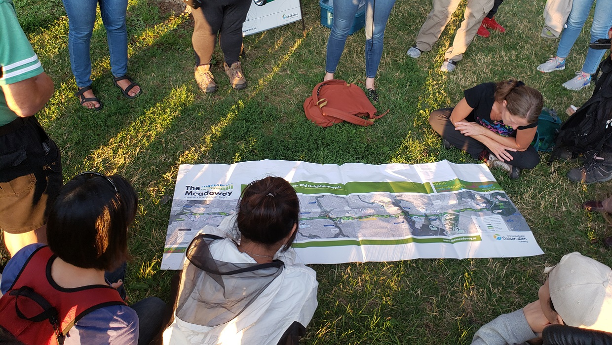 local resident study map of The Meadoway at community learning event