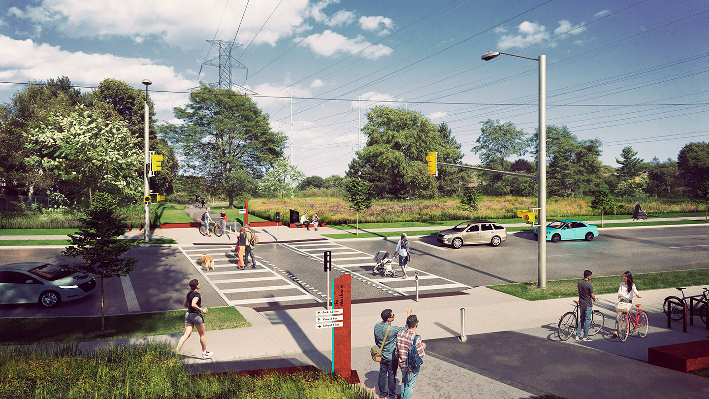 architectural rendering of a typical Meadoway road crossing