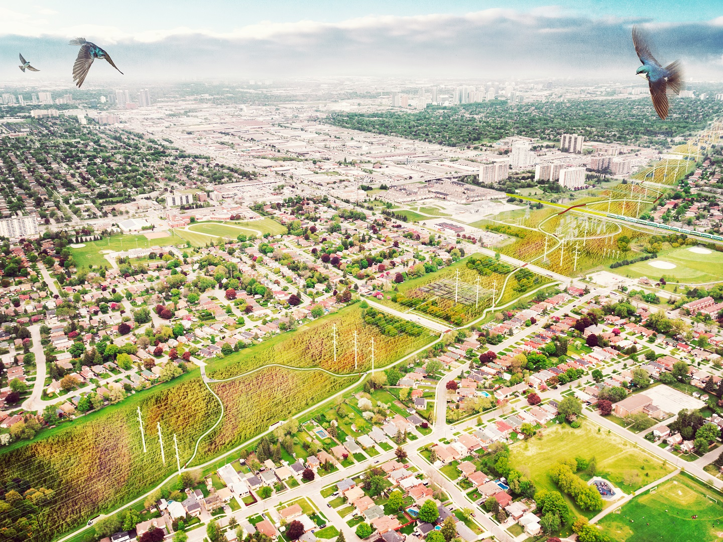architectural rendering of Givendale Gardens after completion of The Meadoway