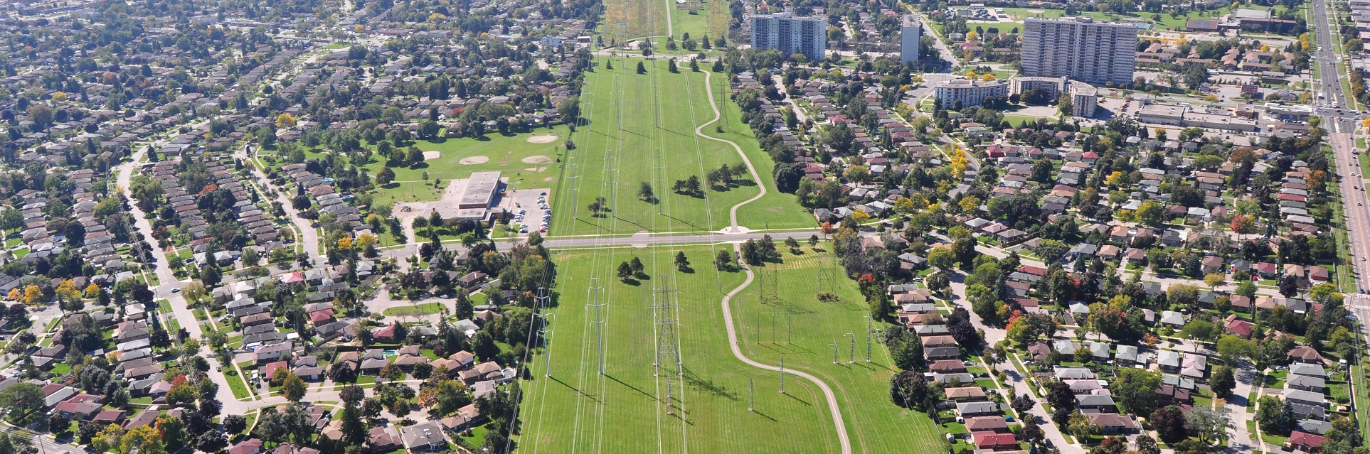 aerial view of Scarborough hydro corridor