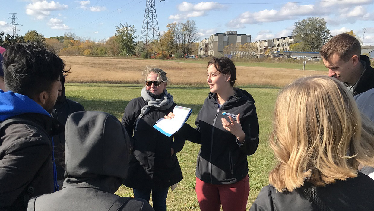 Emily Rondel leads a community learning event in The Meadoway