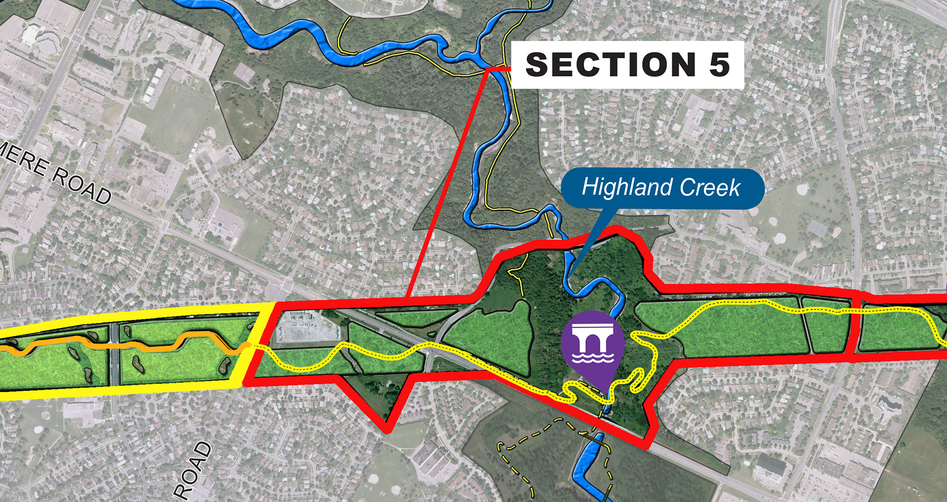 map of The Highland Creek section of The Meadoway multi-use trail