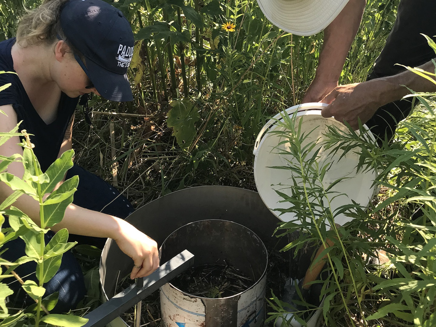 TRCA restoration team members helps to conduct infilatration rate research in The Meadoway