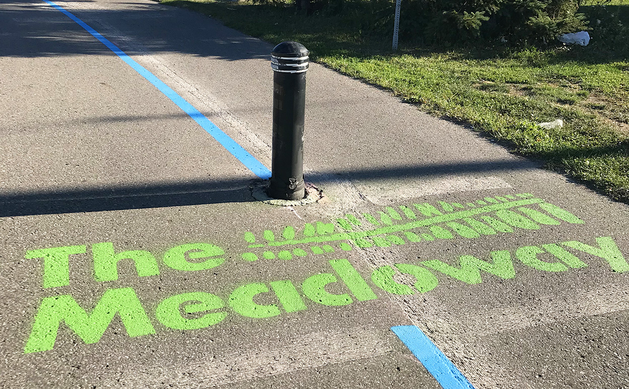 The Meadoway logo painted bright green on surface of multi-use trail