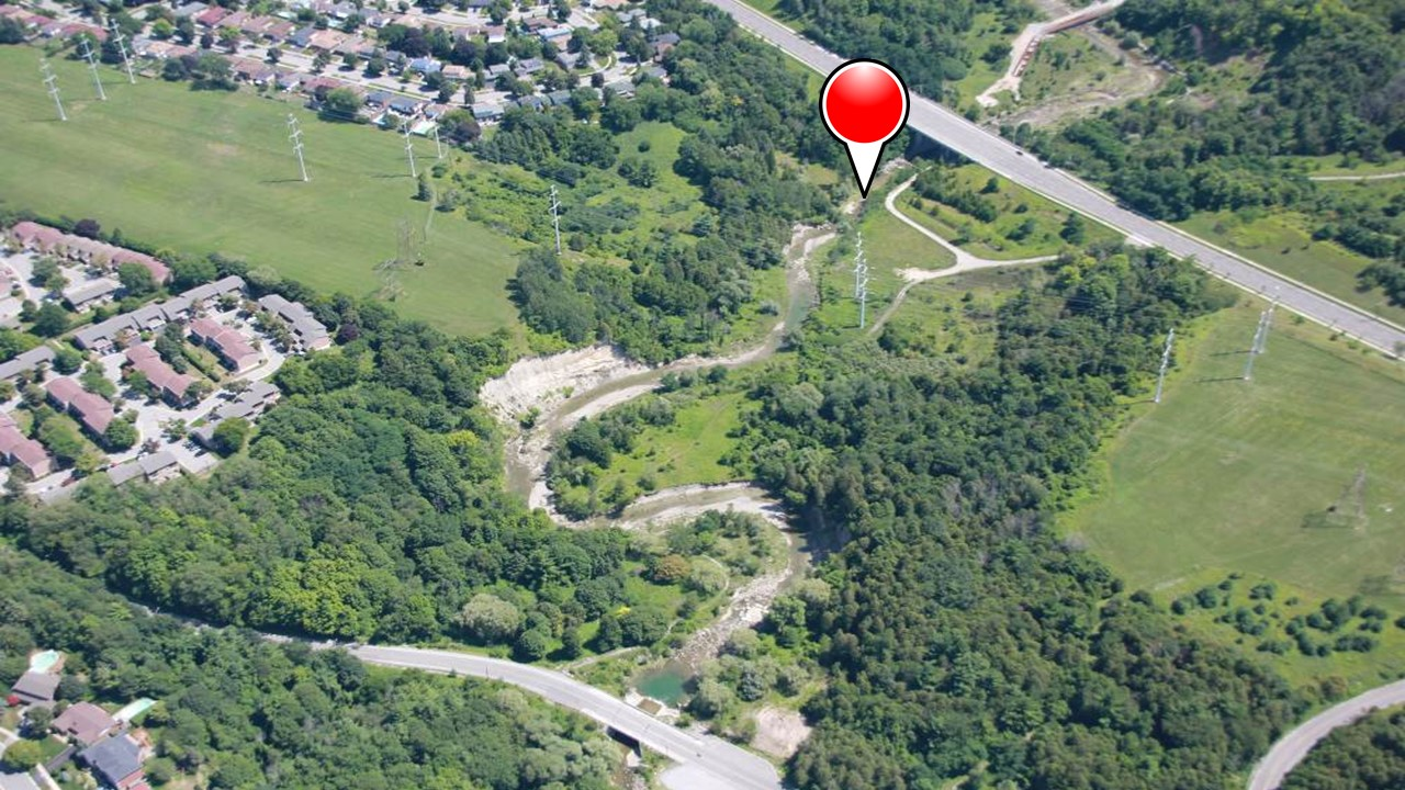 aerial photo of a portion of The Meadoway with a push pin at the location of Highland Bridge